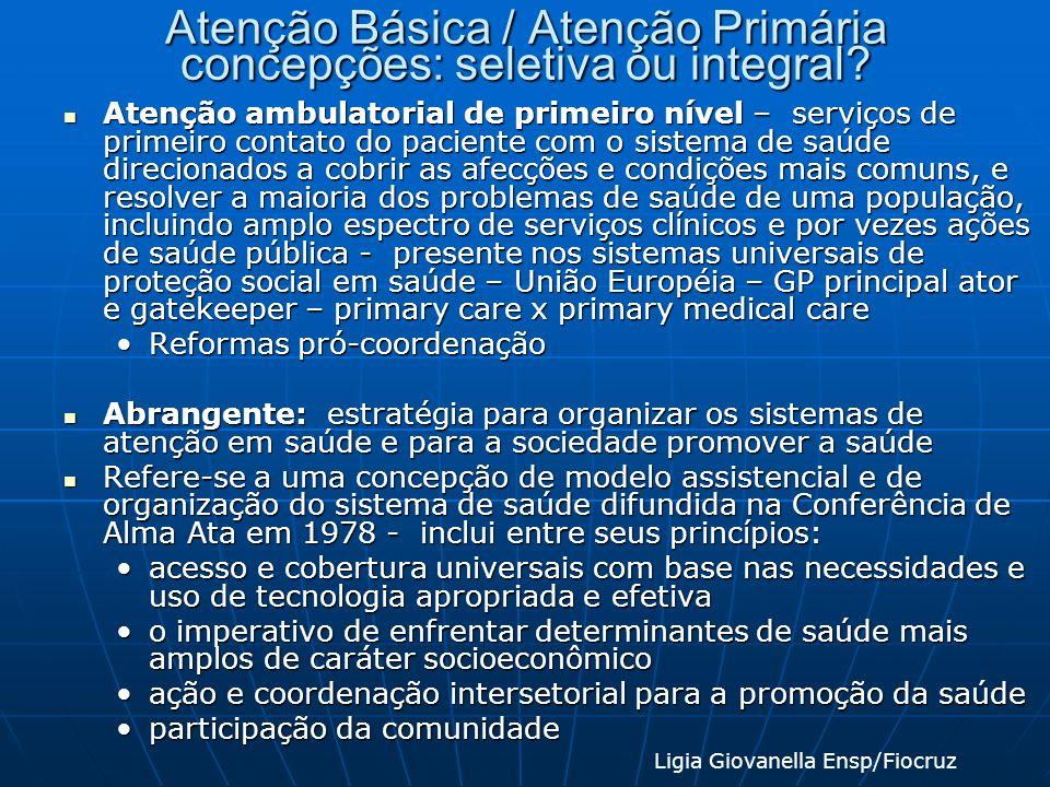 Atenção Básica / Atenção Primária concepções: seletiva ou integral