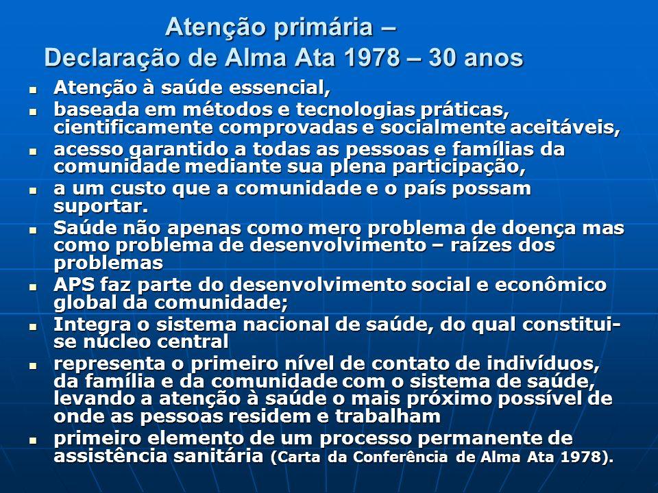 Atenção primária – Declaração de Alma Ata 1978 – 30 anos