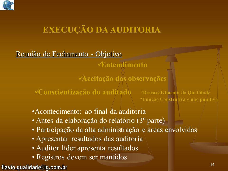 EXECUÇÃO DA AUDITORIA Reunião de Fechamento - Objetivo Entendimento