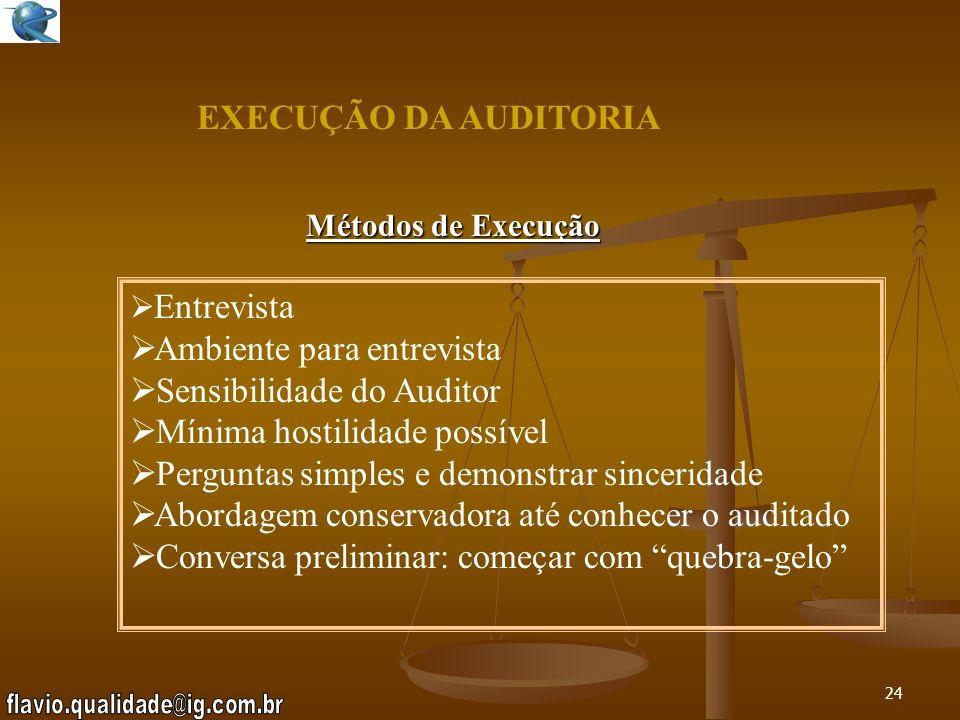 EXECUÇÃO DA AUDITORIA Ambiente para entrevista