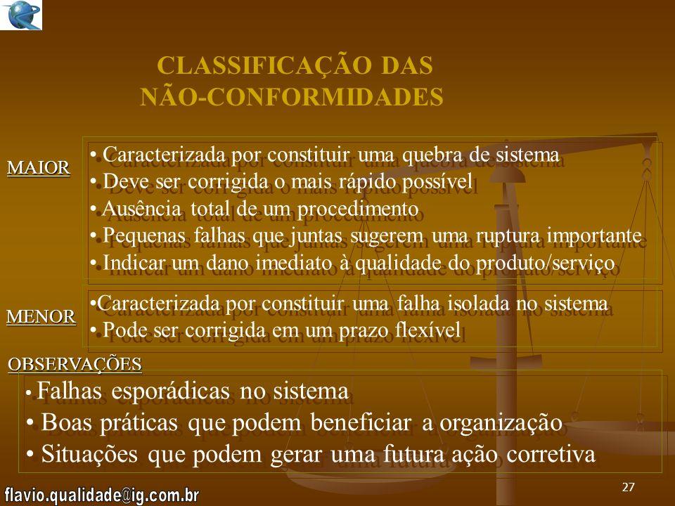 CLASSIFICAÇÃO DAS NÃO-CONFORMIDADES
