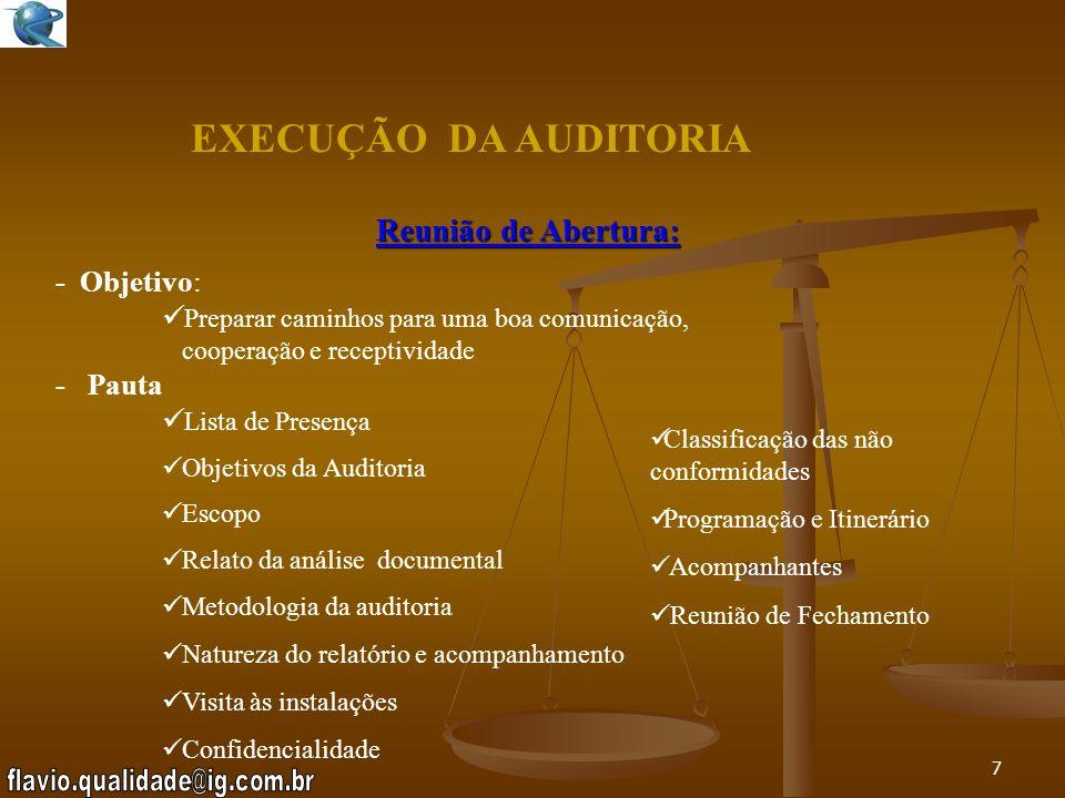 EXECUÇÃO DA AUDITORIA Reunião de Abertura: - Objetivo: