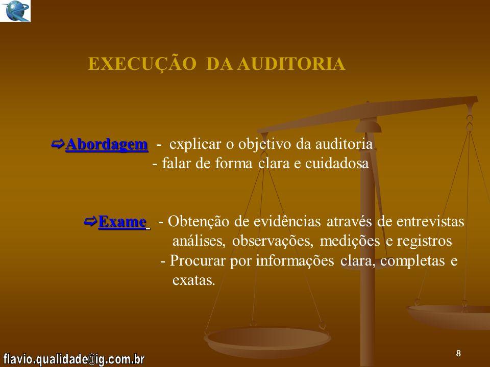 EXECUÇÃO DA AUDITORIA Abordagem - explicar o objetivo da auditoria