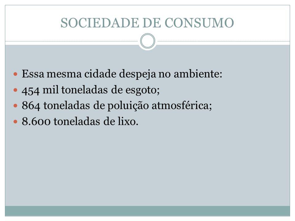 SOCIEDADE DE CONSUMO Essa mesma cidade despeja no ambiente: