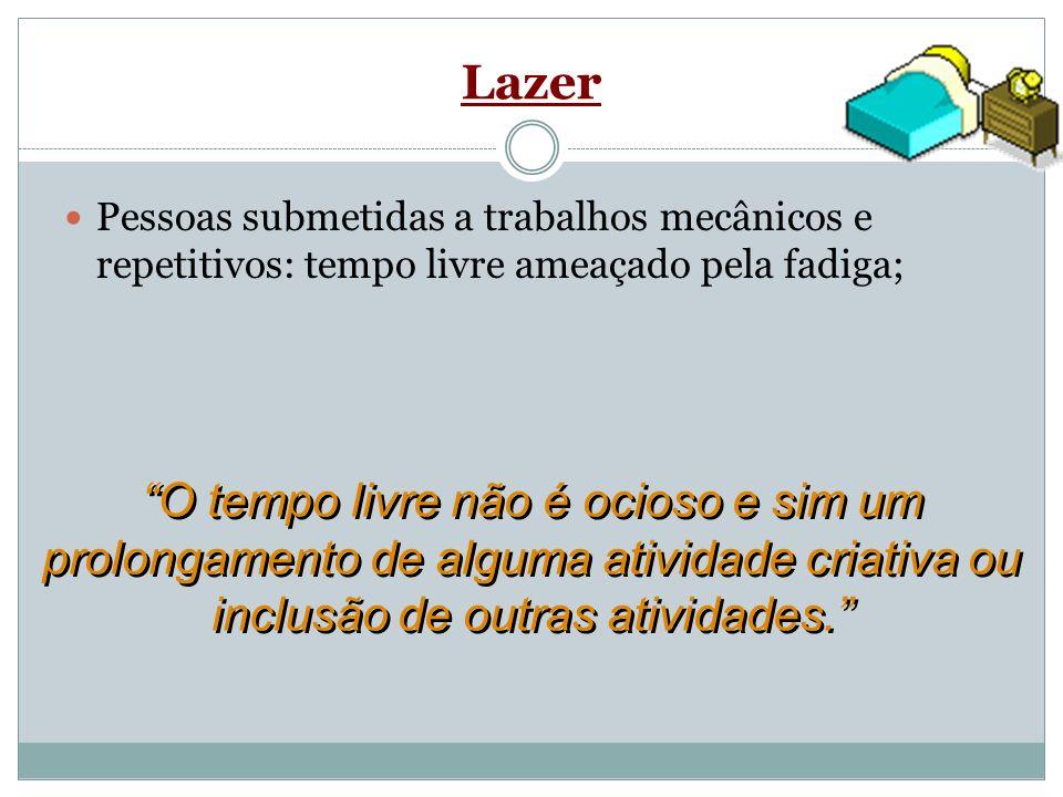 LazerPessoas submetidas a trabalhos mecânicos e repetitivos: tempo livre ameaçado pela fadiga;