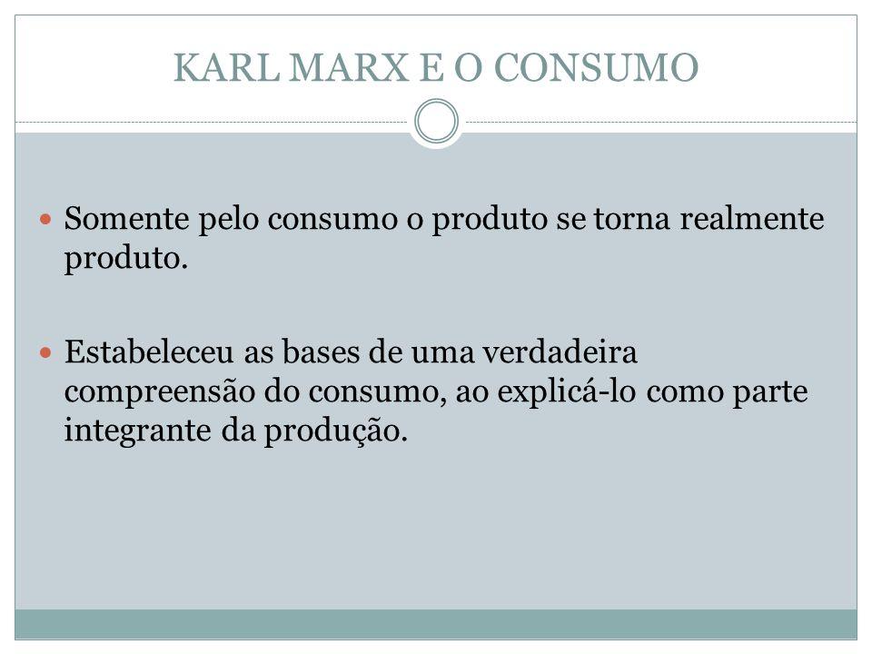 KARL MARX E O CONSUMO Somente pelo consumo o produto se torna realmente produto.