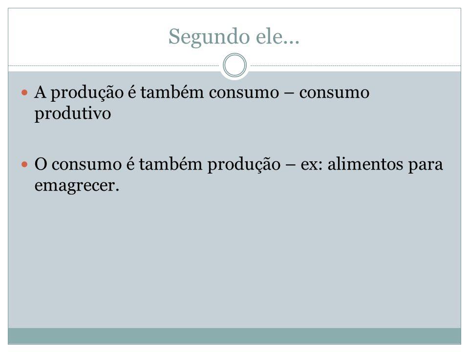 Segundo ele... A produção é também consumo – consumo produtivo