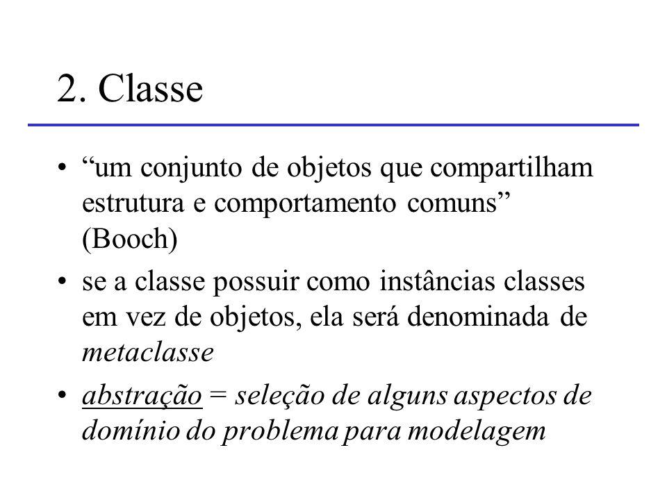 2. Classe um conjunto de objetos que compartilham estrutura e comportamento comuns (Booch)