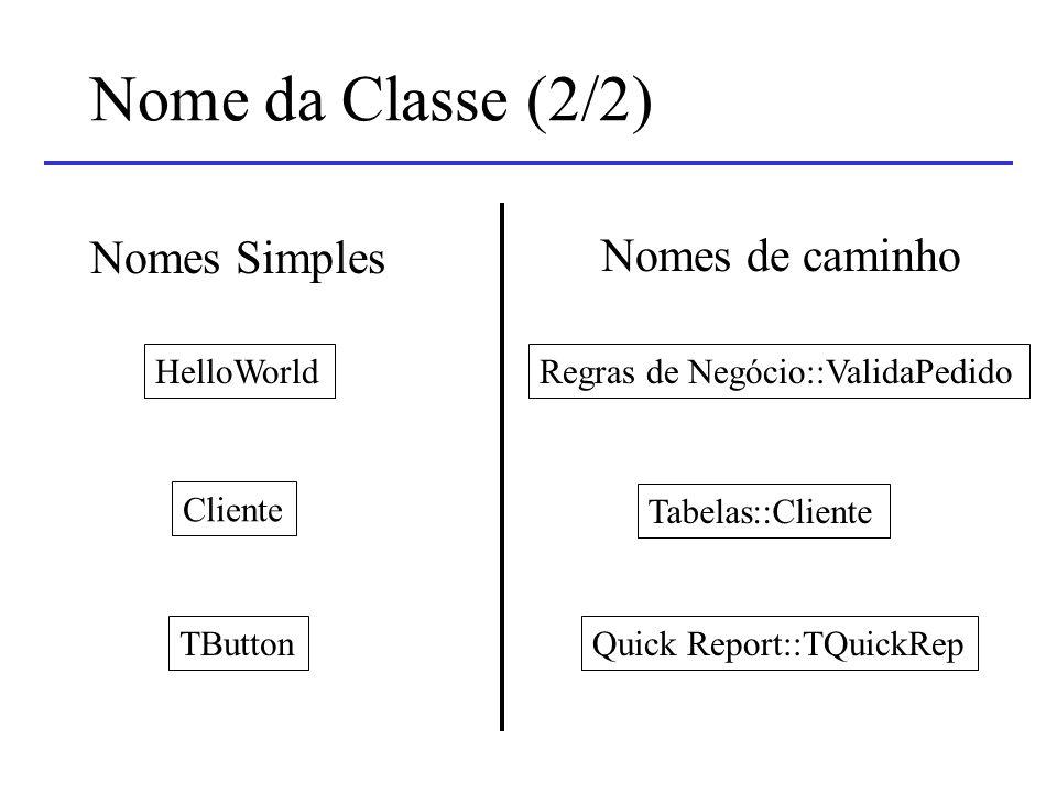 Nome da Classe (2/2) Nomes Simples Nomes de caminho HelloWorld