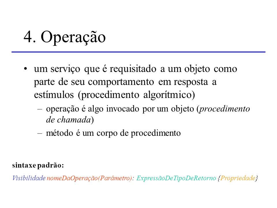 4. Operação um serviço que é requisitado a um objeto como parte de seu comportamento em resposta a estímulos (procedimento algorítmico)