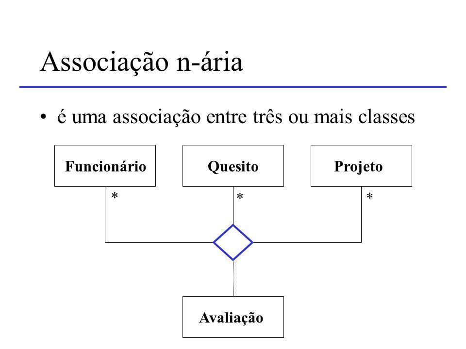 Associação n-ária é uma associação entre três ou mais classes
