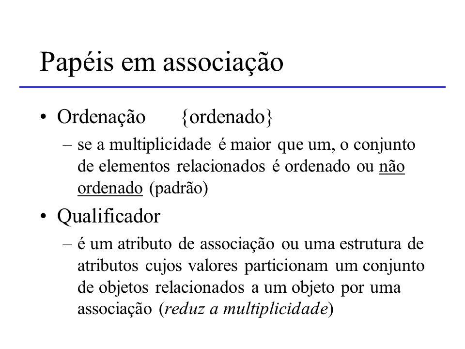 Papéis em associação Ordenação {ordenado} Qualificador
