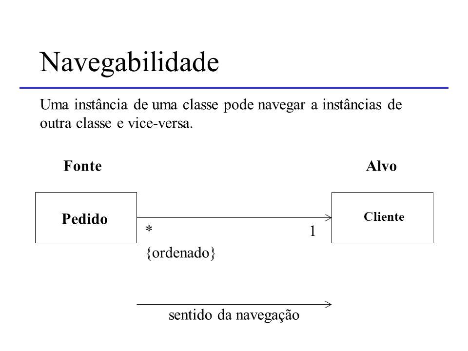 Navegabilidade Uma instância de uma classe pode navegar a instâncias de. outra classe e vice-versa.