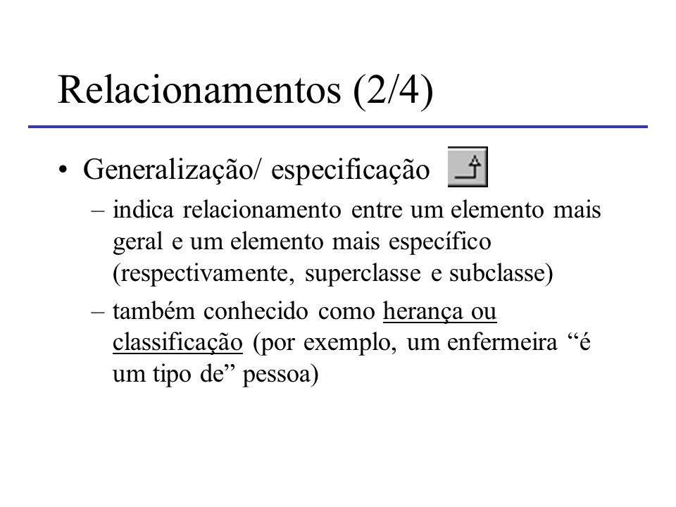 Relacionamentos (2/4) Generalização/ especificação