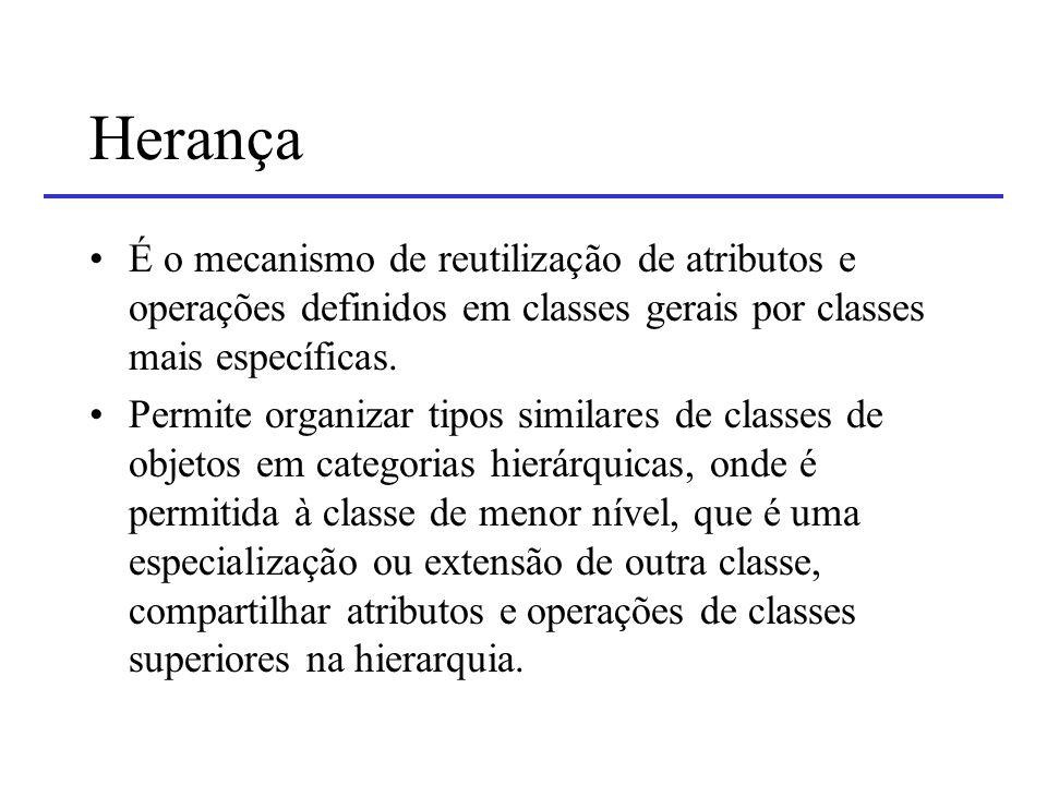 Herança É o mecanismo de reutilização de atributos e operações definidos em classes gerais por classes mais específicas.