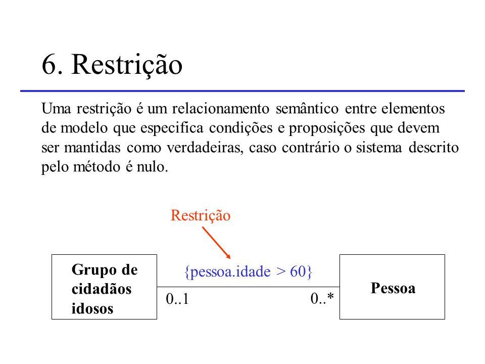 6. Restrição Uma restrição é um relacionamento semântico entre elementos. de modelo que especifica condições e proposições que devem.