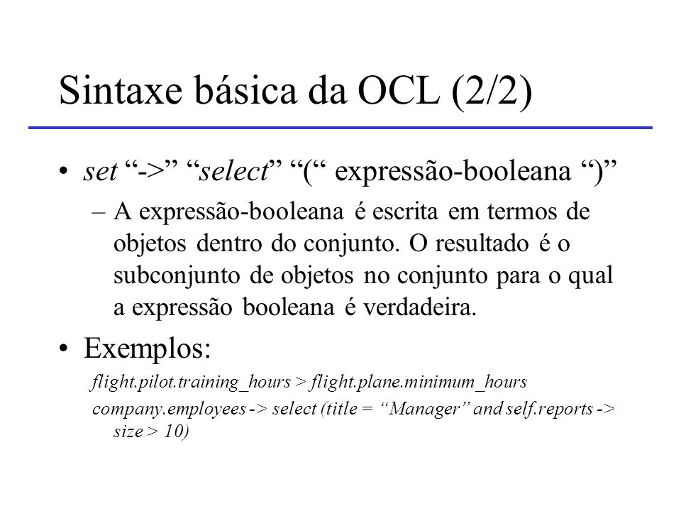 Sintaxe básica da OCL (2/2)