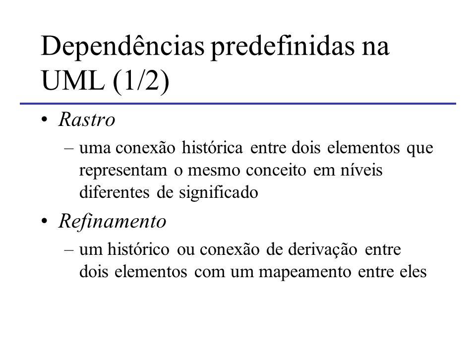 Dependências predefinidas na UML (1/2)