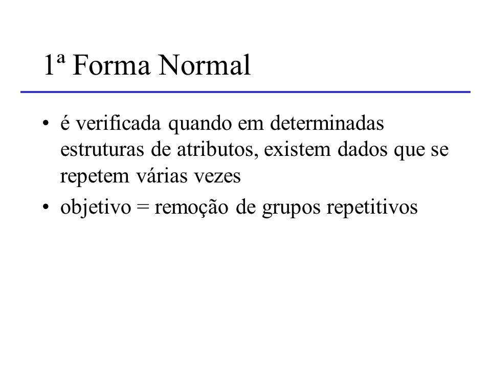 1ª Forma Normal é verificada quando em determinadas estruturas de atributos, existem dados que se repetem várias vezes.