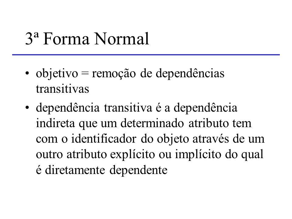 3ª Forma Normal objetivo = remoção de dependências transitivas