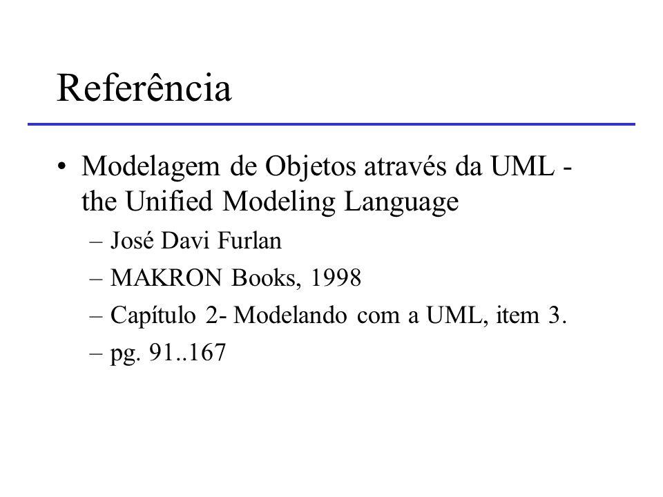 Referência Modelagem de Objetos através da UML - the Unified Modeling Language. José Davi Furlan. MAKRON Books, 1998.