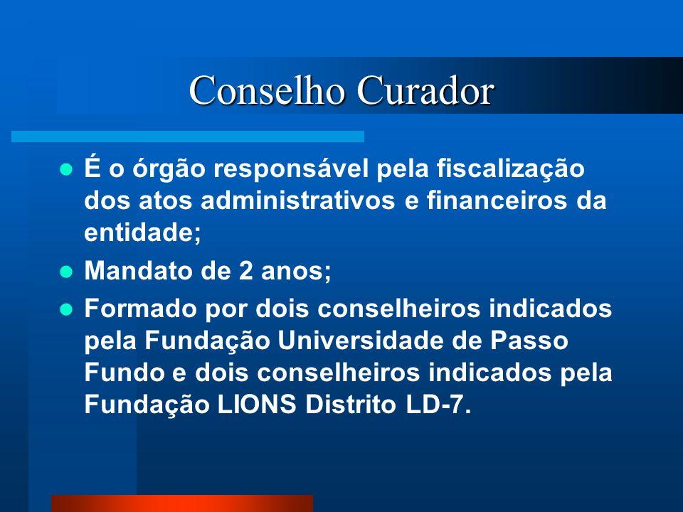Conselho CuradorÉ o órgão responsável pela fiscalização dos atos administrativos e financeiros da entidade;