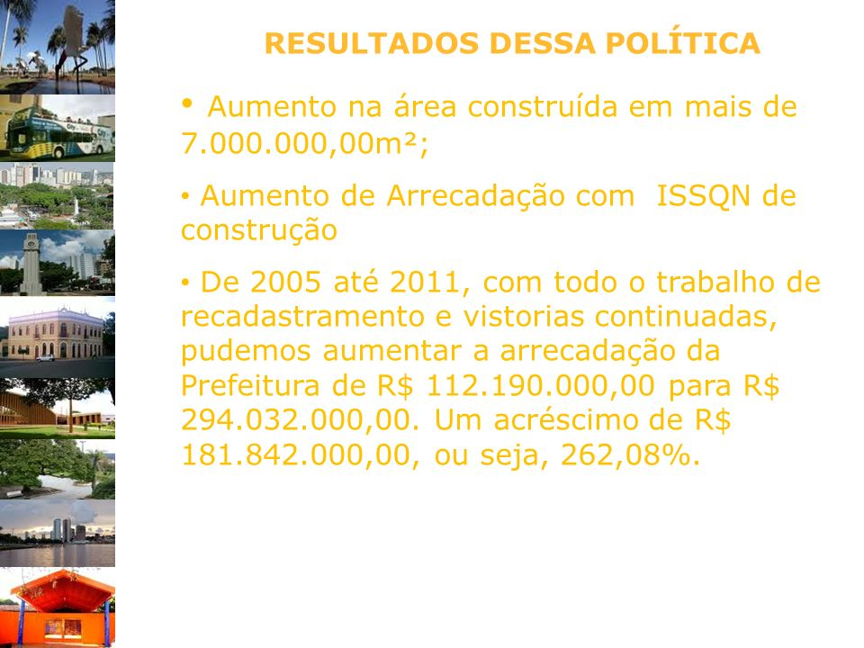 Aumento na área construída em mais de 7.000.000,00m²;