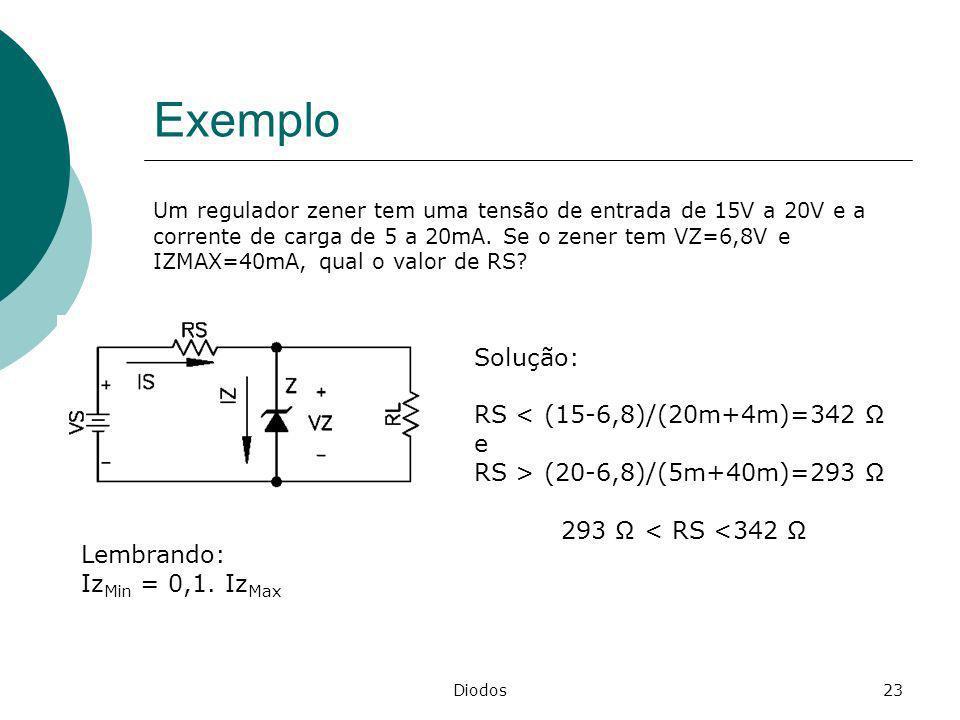 Exemplo Solução: RS < (15-6,8)/(20m+4m)=342 Ω e