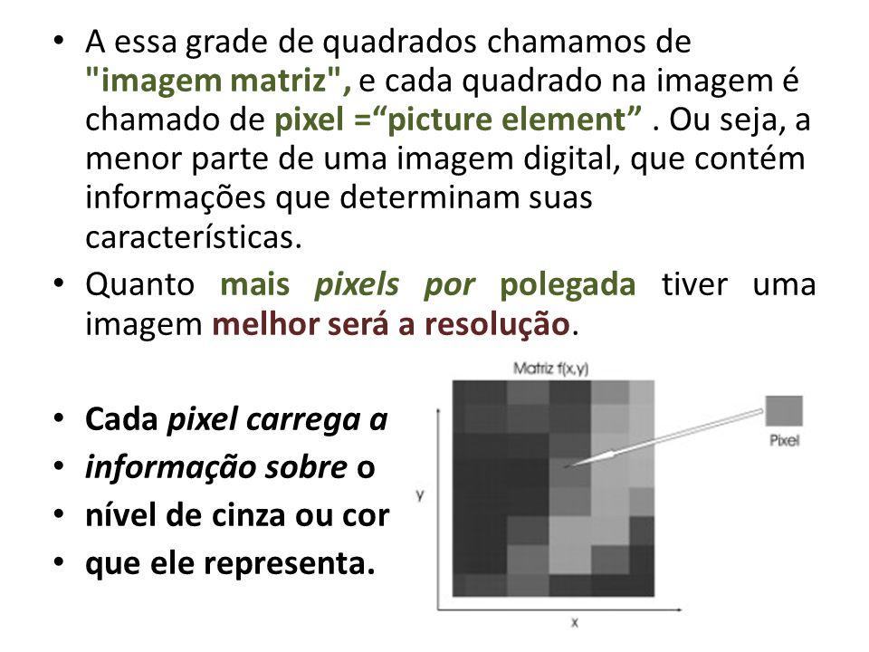 A essa grade de quadrados chamamos de imagem matriz , e cada quadrado na imagem é chamado de pixel = picture element . Ou seja, a menor parte de uma imagem digital, que contém informações que determinam suas características.