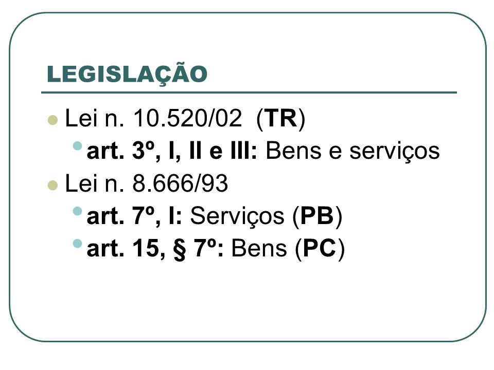 art. 3º, I, II e III: Bens e serviços Lei n. 8.666/93