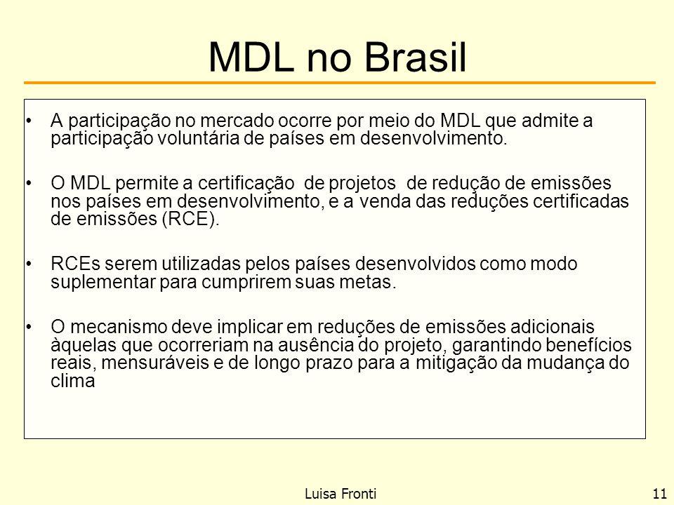 MDL no Brasil A participação no mercado ocorre por meio do MDL que admite a participação voluntária de países em desenvolvimento.