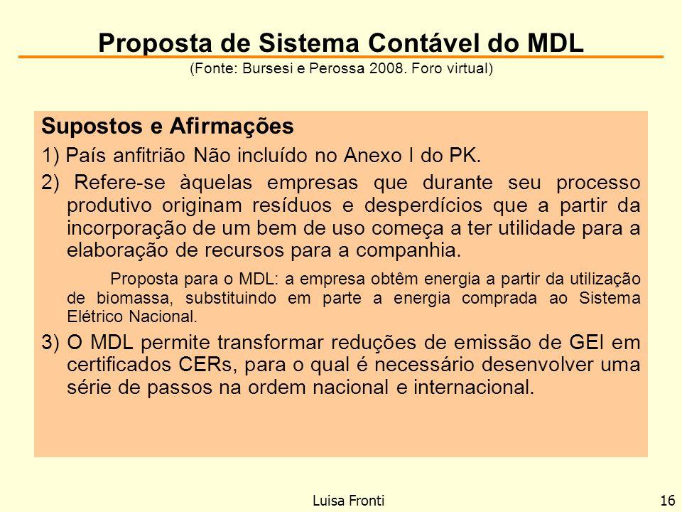 Proposta de Sistema Contável do MDL (Fonte: Bursesi e Perossa 2008