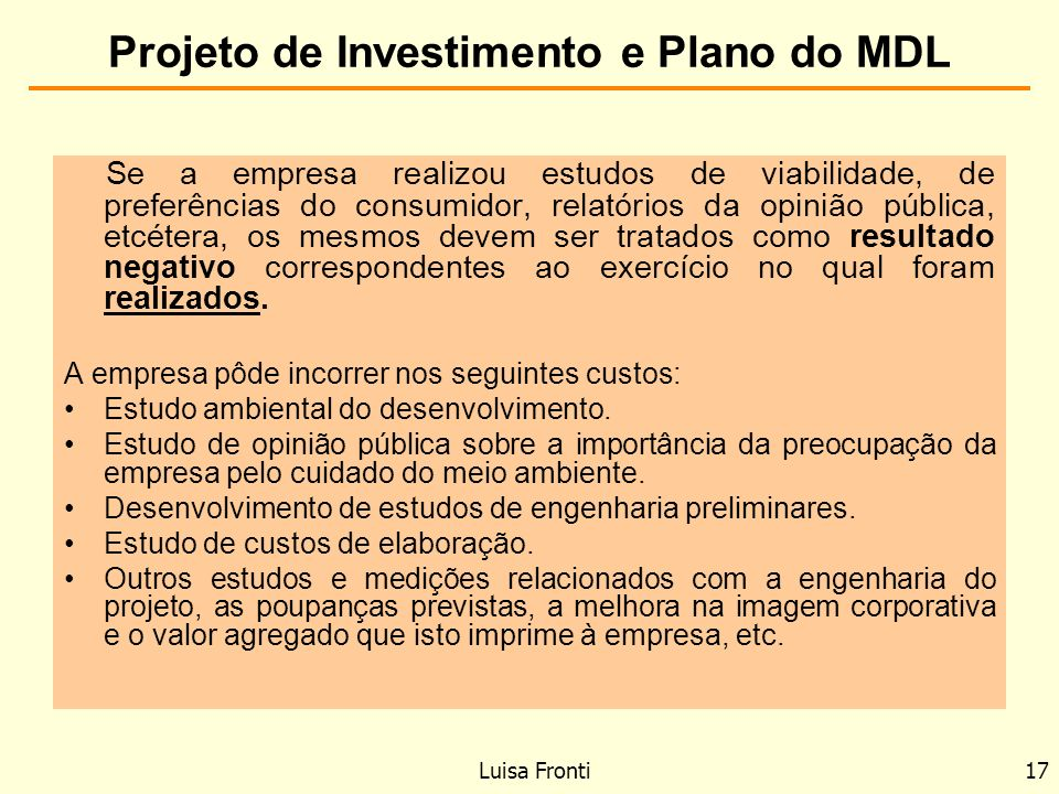 Projeto de Investimento e Plano do MDL