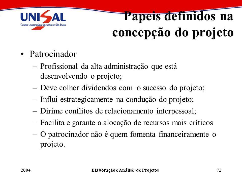 Papeis definidos na concepção do projeto
