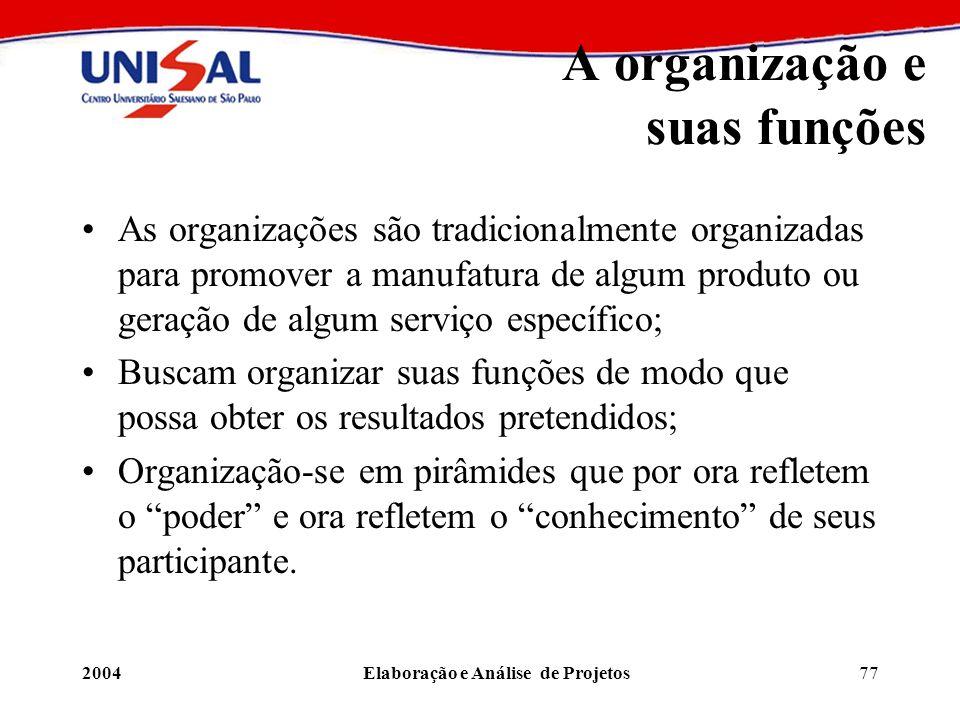 A organização e suas funções