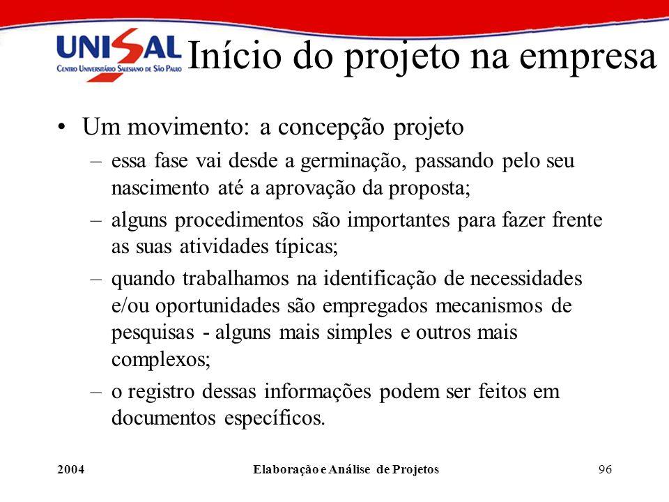 Início do projeto na empresa