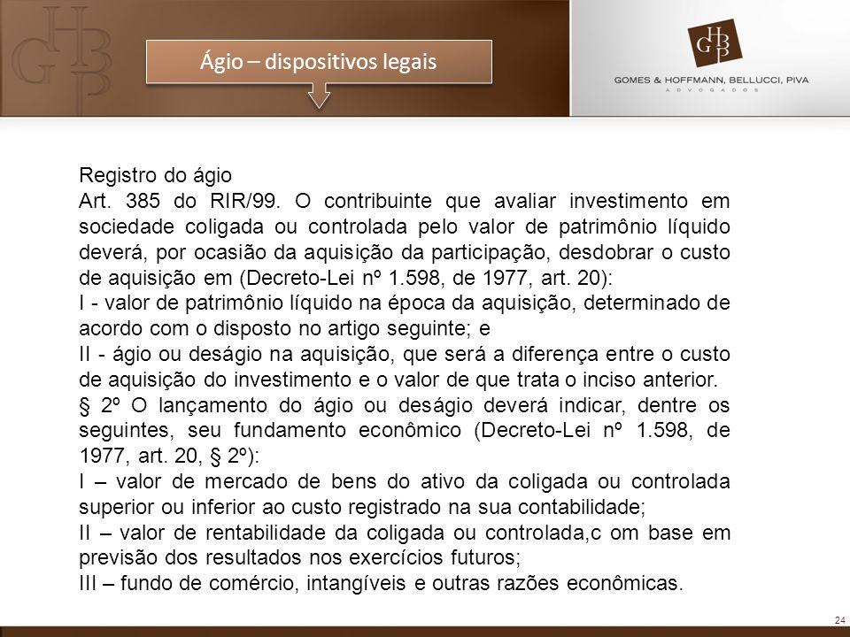Ágio – dispositivos legais