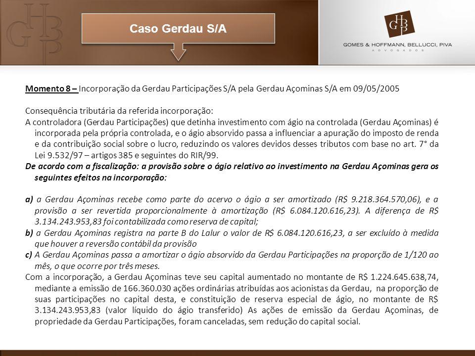 Caso Gerdau S/A Momento 8 – Incorporação da Gerdau Participações S/A pela Gerdau Açominas S/A em 09/05/2005.