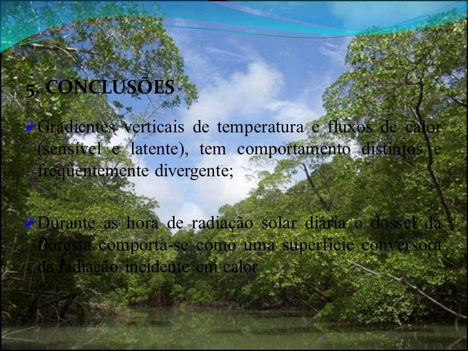 5. CONCLUSÕES Gradientes verticais de temperatura e fluxos de calor (sensível e latente), tem comportamento distintos e freqüentemente divergente;