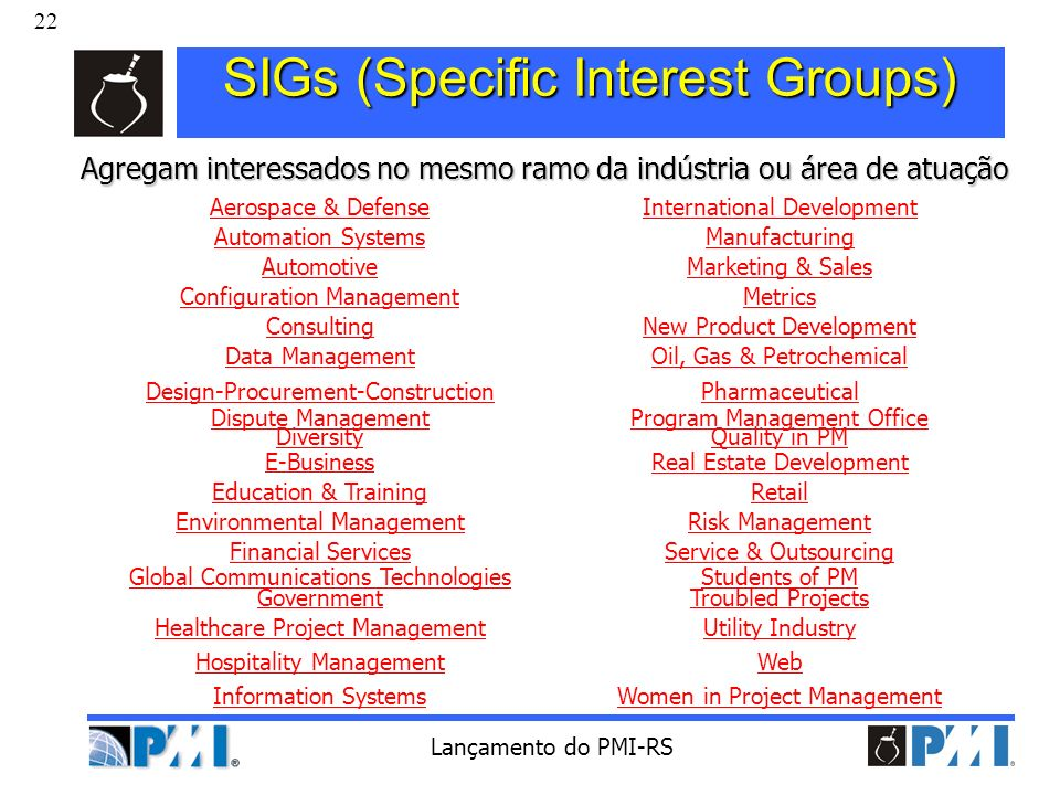 SIGs (Specific Interest Groups)