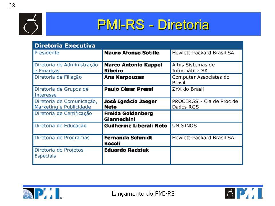 PMI-RS - Diretoria Lançamento do PMI-RS