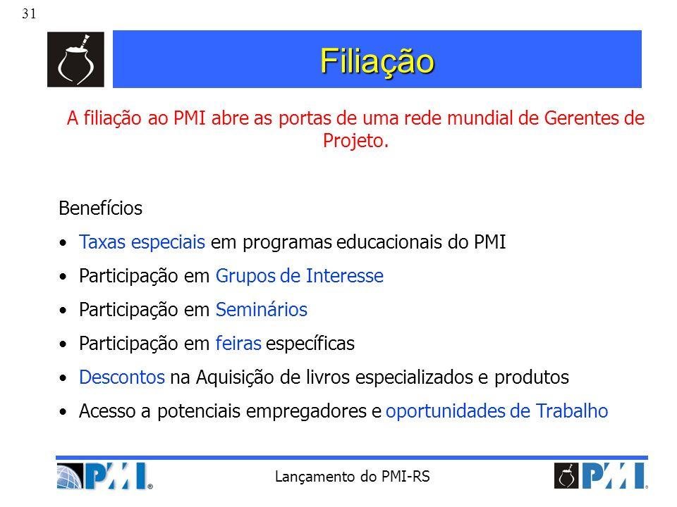 Filiação A filiação ao PMI abre as portas de uma rede mundial de Gerentes de Projeto. Benefícios. Taxas especiais em programas educacionais do PMI.
