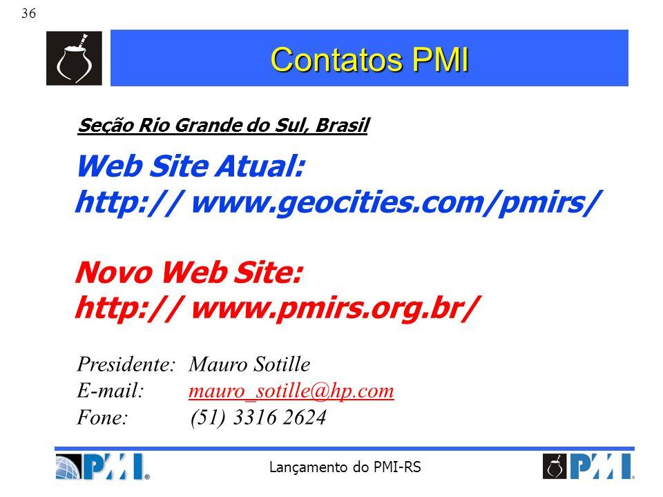 Contatos PMI Web Site Atual: http:// www.geocities.com/pmirs/