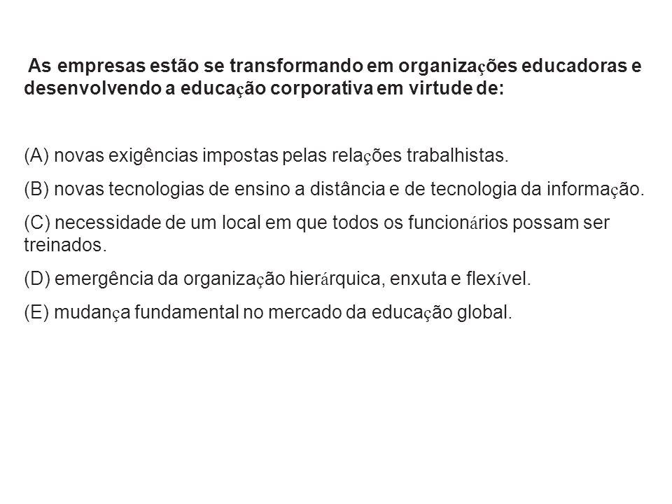 As empresas estão se transformando em organizações educadoras e desenvolvendo a educação corporativa em virtude de: