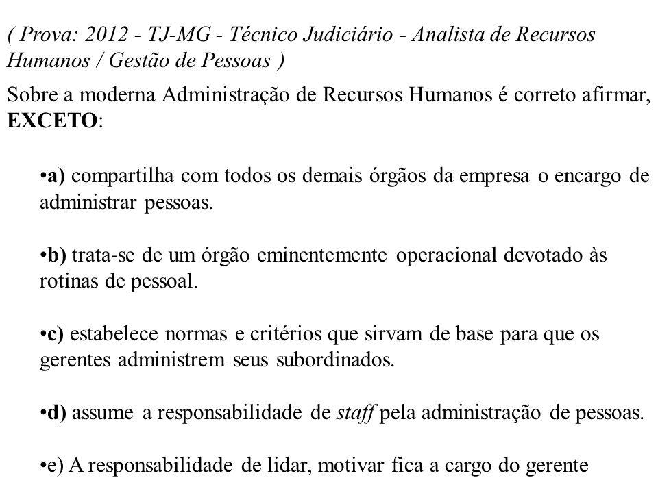 ( Prova: 2012 - TJ-MG - Técnico Judiciário - Analista de Recursos Humanos / Gestão de Pessoas )