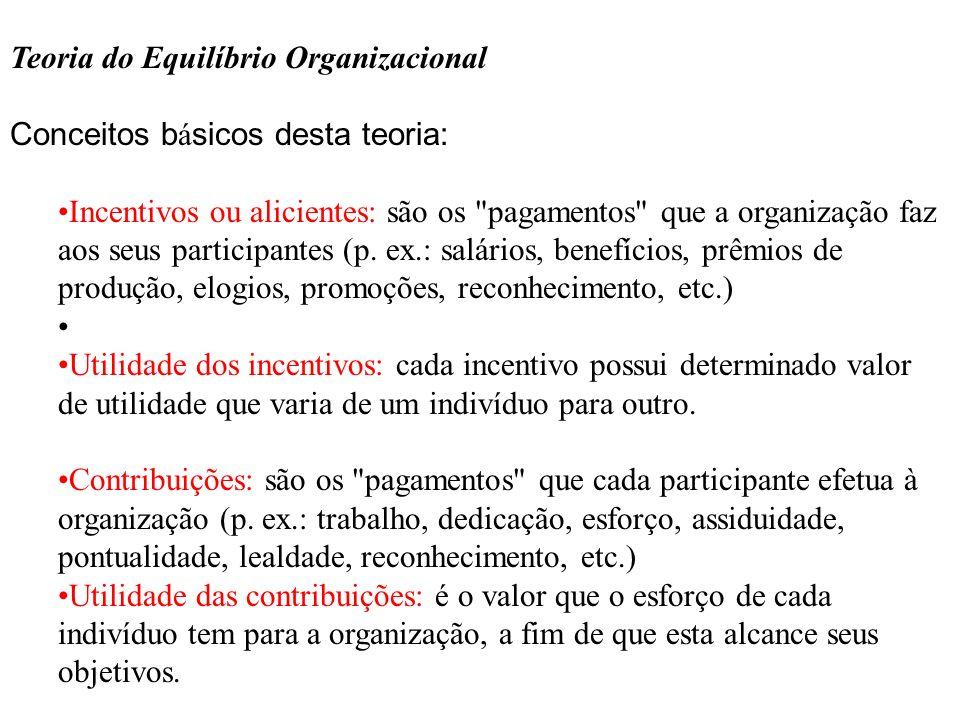 Teoria do Equilíbrio Organizacional Conceitos básicos desta teoria: