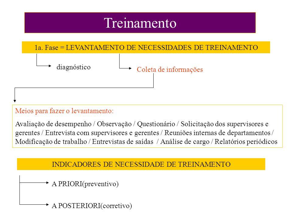 Treinamento 1a. Fase = LEVANTAMENTO DE NECESSIDADES DE TREINAMENTO