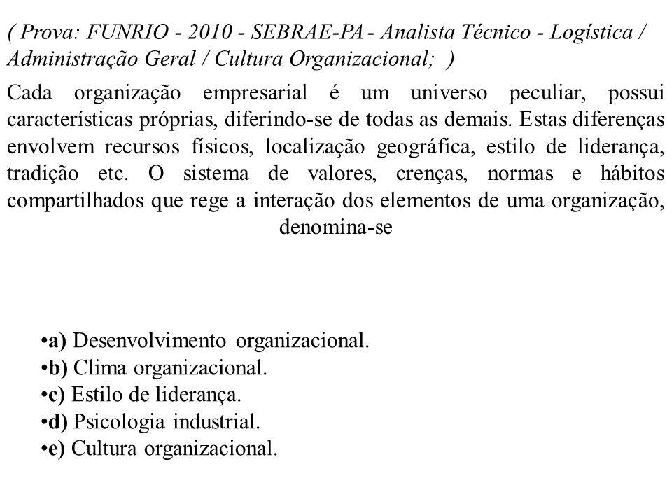 ( Prova: FUNRIO - 2010 - SEBRAE-PA - Analista Técnico - Logística / Administração Geral / Cultura Organizacional; )