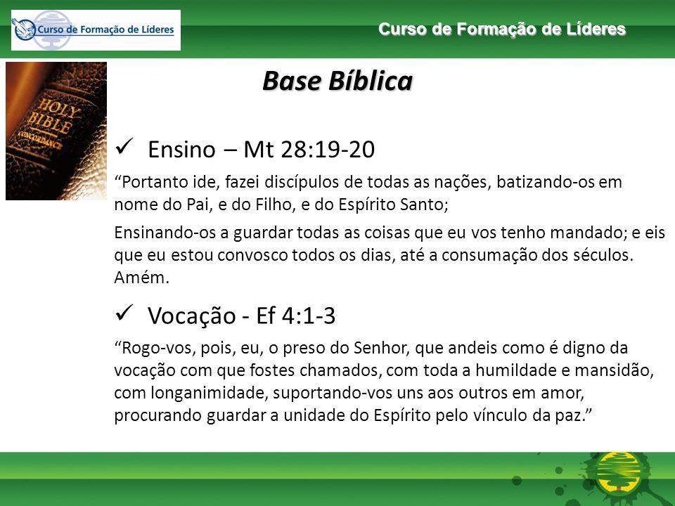 Base Bíblica Ensino – Mt 28:19-20 Vocação - Ef 4:1-3