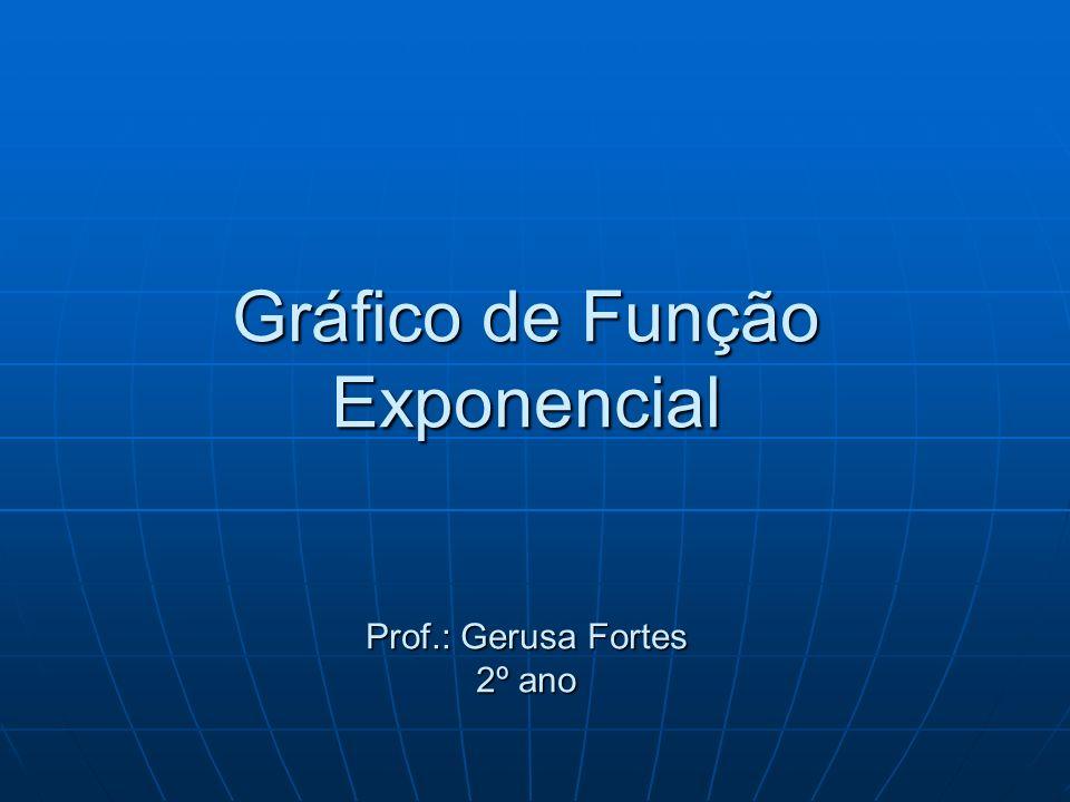 Gráfico de Função Exponencial Prof.: Gerusa Fortes 2º ano